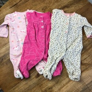 Carter's Footie Pajamas Baby Girl 3 months Pink